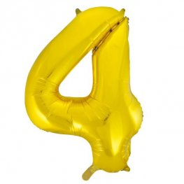 "34"" Gold Glitz Number 4 Supershape Balloons"