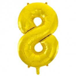 "34"" Gold Glitz Number 8 Supershape Balloons"