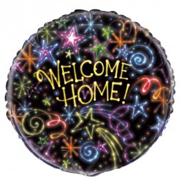 "18"" Welcome Home Neon Stars Foil Balloons"