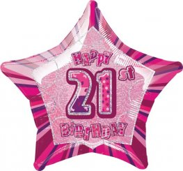 "20"" Happy 21st Birthday Pink Glitz Foil Balloons"