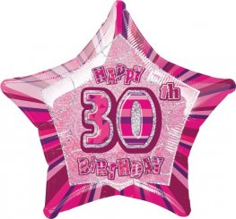 "20"" Happy 30th Birthday Pink Glitz Foil Balloons"