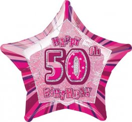 "20"" Happy 50th Birthday Pink Glitz Foil Balloons"