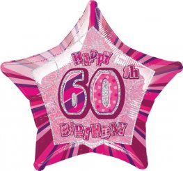 "20"" Happy 60th Birthday Pink Glitz Foil Balloons"