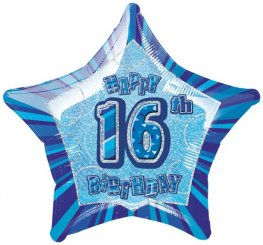 "20"" Happy 16th Birthday Blue Glitz Foil Balloons"