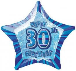 "20"" Happy 30th Birthday Blue Glitz Foil Balloons"