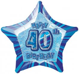"20"" Happy 40th Birthday Blue Glitz Foil Balloons"