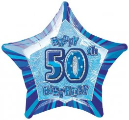 "20"" Happy 50th Birthday Blue Glitz Foil Balloons"