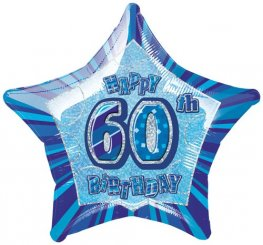 "20"" Happy 60th Birthday Blue Glitz Foil Balloons"