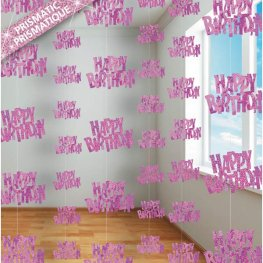 Happy Birthday Pink Glitz Hanging Decorations