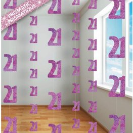 Age 21 Pink Glitz Hanging Decorations