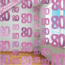 Age 80 Pink Glitz Hanging Decoration
