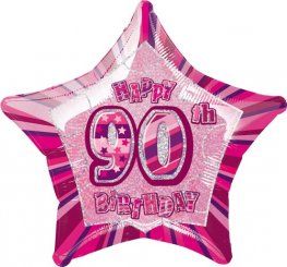 "20"" Happy 90th Birthday Pink Glitz Foil Balloons"