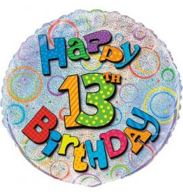 "18"" Happy 13th Birthday Prismatic Foil Balloons"