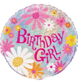 "18"" Birthday Girl Prismatic Foil Balloons"