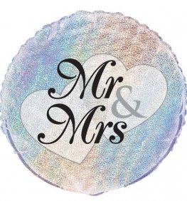 "18"" Mr And Mrs Prismatic Foil Balloons"