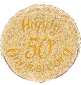 "18"" 50th Gold Anniversary Prismatic Foil Balloons"