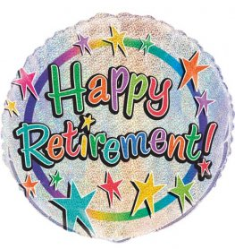 "18"" Happy Retirement Prismatic Foil Balloons"