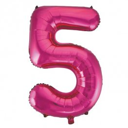 "34"" Pink Glitz Number 5 Supershape Balloons"