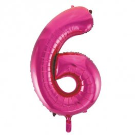 "34"" Unique Pink Glitz Number 6 Supershape Balloons"
