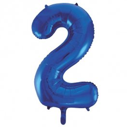 "34"" Blue Glitz Number 2 Supershape Balloons"
