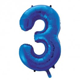 "34"" Blue Glitz Number 3 Supershape Balloons"