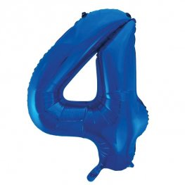 "34"" Blue Glitz Number 4 Supershape Balloons"