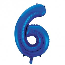 "34"" Unique Blue Glitz Number 6 Supershape Balloons"