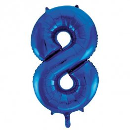 "34"" Blue Glitz Number 8 Supershape Balloons"