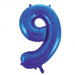 "34"" Blue Glitz Number 9 Supershape Balloons"