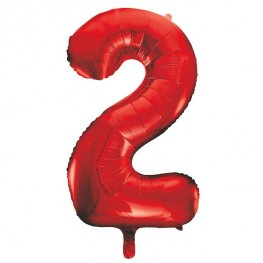 "34"" Red Number 2 Supershape Balloons"