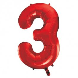 "34"" Red Number 3 Supershape Balloons"