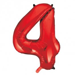 "34"" Red Number 4 Supershape Balloons"