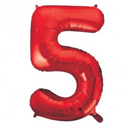 "34"" Red Number 5 Supershape Balloons"