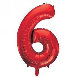 "34"" Red Number 6 Supershape Balloons"