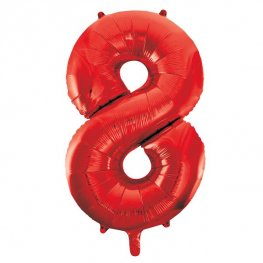 "34"" Unique Red Number 8 Supershape Balloons"
