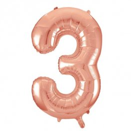 "34"" Rose Gold Number 3 Supershape Balloons"