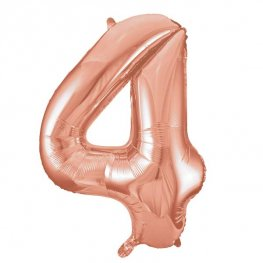 "34"" Rose Gold Number 4 Supershape Balloons"