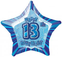"20"" Happy 13th Birthday Blue Glitz Foil Balloons"