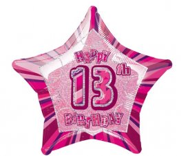 "20"" Happy 13th Birthday Pink Glitz Foil Balloons"