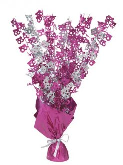 18th Pink Glitz Foil Balloon Weight Centrepiece
