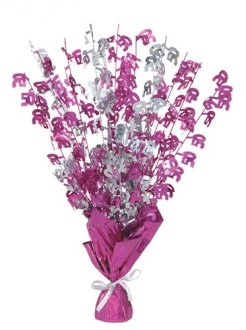 50th Pink Glitz Foil Balloon Weight Centrepiece