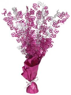 60th Pink Glitz Foil Balloon Weight Centrepiece