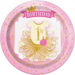 Gold And Pink 1st Birthday Paper Plates 8pk