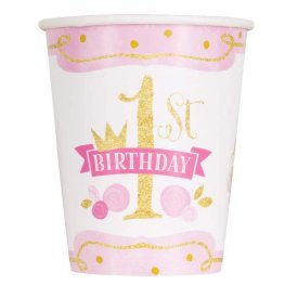 Gold And Pink 1st Birthday Paper Cups 8pk