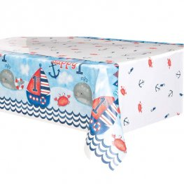 Nautical 1st Birthday Plastic Tablecover