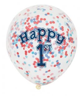 "12"" Boys 1st Birthday Latex Balloons With Confetti 6pk"