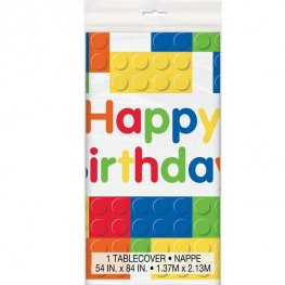 Happy Birthday Building Blocks Plastic Tablecover