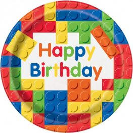 Happy Birthday Building Blocks Paper Plates 8pk