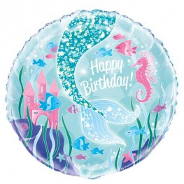 "18"" Happy Birthday Mermaid Tail Foil Balloons"