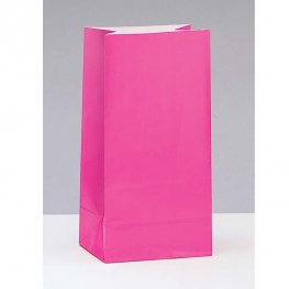 Hot Pink Paper Party Bag 12pk